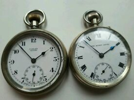 two pocket watches from rugby leicestershire ,foxley & rugby lever both running