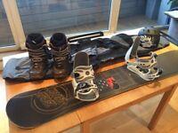 Santa Cruz X159 Snowboard, Nitro Bindings, Van Boots, R.E.D. Shaun White Helmet bundle, job lot