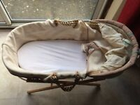 Nearly new moses basket, silver cross car seat