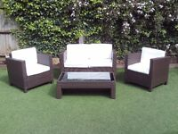 4 Piece Rattan Garden Patio Furniture Set Brown with Cream Cushions
