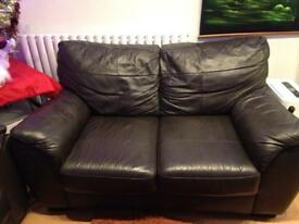 Small leather 2 seater settee