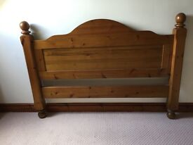 Solid chunky antique pine double bed.