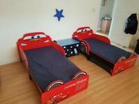 Disney Cars Lightning McQueen Toddler Bed with Storage + Foam Mattress + fitted bedsheet
