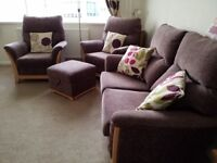 3 piece 2 seater suite with matching storage stool