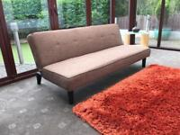 Brown Fabric Click Clack Double Sofa Bed Immaculate