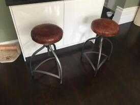 2 x Industrial style bar stool