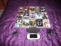 "WHITE SONY PSP + 15 GAMES + HARD CASE + EXTRAS ""MINT CONDITION"""
