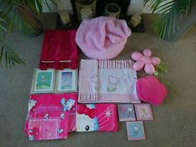 Pink girls bedroom set bundle Inc. 2 duvet sets (& brands next, Ikea & hello kitty)