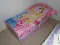 DISNEY PRINCESS JUNIOR BED, DUVET, DUVET COVER WITH MATCHING CURTAINS