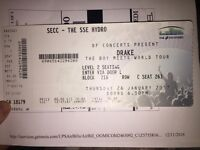 2 Drake Tickets for 23rd March in Glasgow - genuine reason for sale