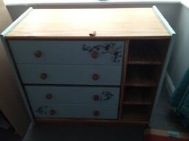 Solid pine upcycled cabinet with drop down panel with storage and 2 drawers .