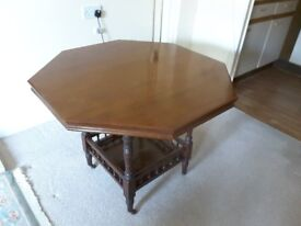 Antique octagonal occasional table. Solid mahogany.