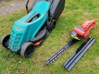Bosch lawnmower and sovereign hedge trimmer