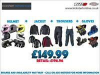 GREAT PACKAGE DEAL -MOTORCYCLE HELMET-JACKET-TROUSERS AND MATCHING GLOVES ONLY £149.99 AT KICKSTART