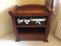 Beautiful sleigh cot and changing unit