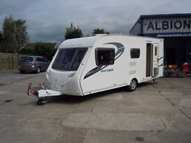 Sterling Europa 520 2011, 4 berth, touring caravan with large step in shower for sale.