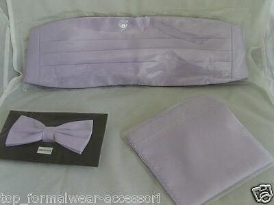 (Pale LILAC Bow tie + Cummerbund and Hankie Set>P&P>1st Class-> Over 50 Colours)