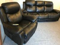 ~ Luxury Black faux leather ~ 3 & 1 ~ sofas suite ( armchair is an electric massage recliner)