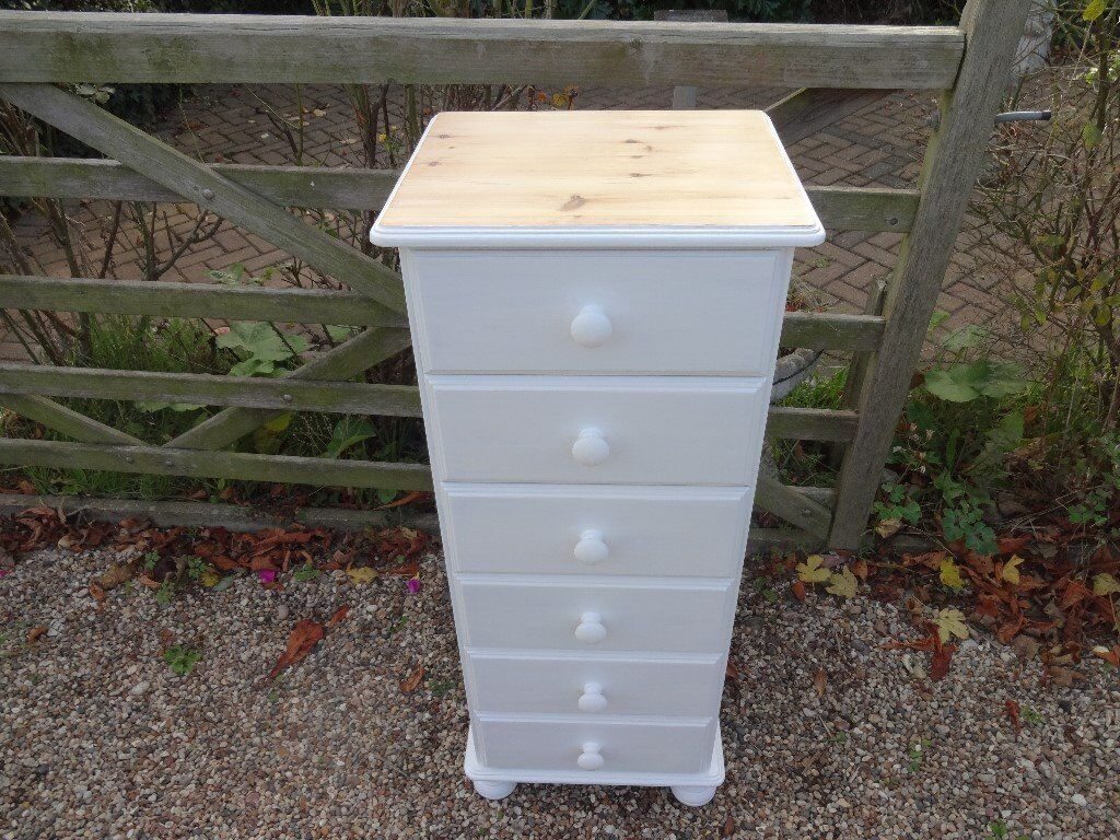 SOLID PINE TALLBOY CHEST OF DRAWERS--6 DRAWER --PAINTED WHITE TOP SANDED + WAXED --