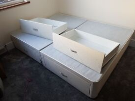 A KING SIZE CREAM DIVAN BASE + 4 FULL SIZE DRAWS AND A NEW DOUBLE DIVAN BASE
