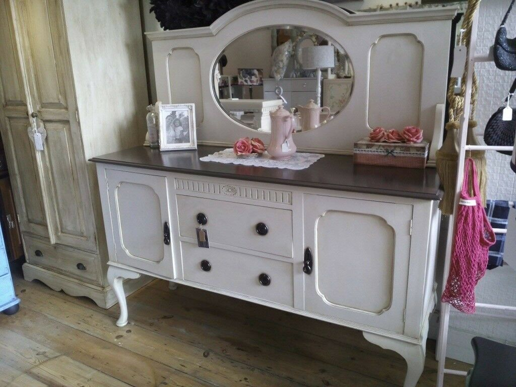 Big Antique Sideboard With Back Mirror