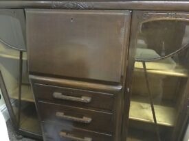 Glass Fronted Display Cabinet, Drawer & Writing Desk Inset