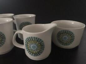 J&G Meakin Coffe Cups with Milk Jug and Sugar Bowl