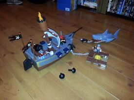 Lego 7881 Duplo pirate ship, and LEGO 7882 Raft with sharks bananas extra anchor and pirates