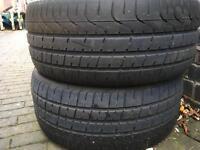 Two Pirelli P Zero part worn tyres. 245/45/18 ZR