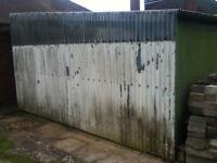 Corrugated iron sheet shed