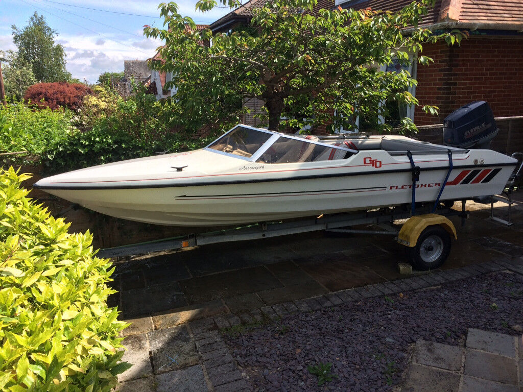 Fletcher Speed Boat With 60hp Evinrude Outboard And Snipe