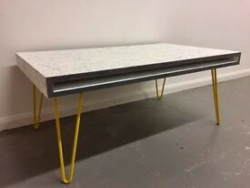 Industrial Scandinavian Style Coffee Table On Vintage Hairpin Legs
