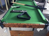 Riley's mini pool/snooker table with accessories.