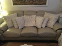 3 seater dark cream leather sofa