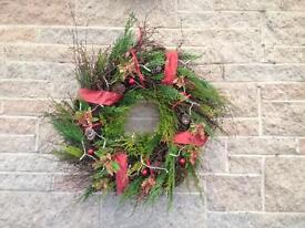 Lovely large fresh natural christmas wreath with led lights