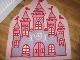 Next girls lovely princess castle bedroom rug in vgc