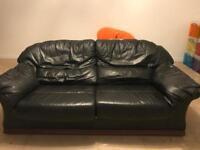 Black leather sofa & chair