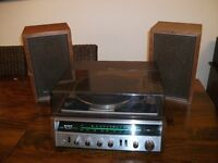 Sony HP-211A Vintage Stereo System Turntable & Original Sony Speakers Solid State