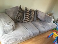 DFS SOFA 4 SEATER SOFT SMOOTH VELVET AROUND 8FT IN LENGTH EXCELLENT CONDTION DELIVER MANCHESTER
