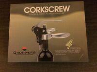 GRUNWERG Connoisseur CORKSCREW SET : NEW, STILL BOXED : 4 pieces