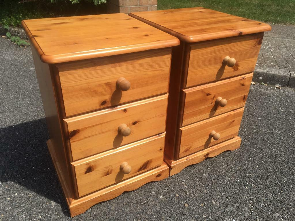 Good quality solid pine bedside chests with dovetail joints . I can deliver