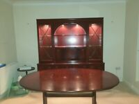 Mahogany Cabinet, Dining Table and 4 Chairs