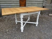 Fully Refurbished - Lovely Oak Barley Twist Extending Dining Table Painted Farrow & Ball - Osmo Oil