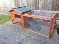Double Decker Wooden Guinea Pig Hutch with Play Area. Enclosed area, run and removal tray.