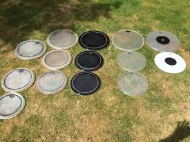 "Drums - Tom Drum Heads - Sizes 10"" to 16"" - x 14 - Remo (12) Evans (1)Premier (1)"