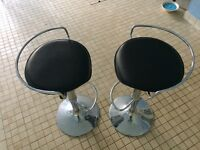 Pair of black/chrome bar adjustable height bar stools