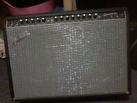 Fender 2x12 100watt guitar amp with foot switch pedal.