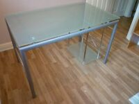 Glass top computer desk with printer / PC shelf