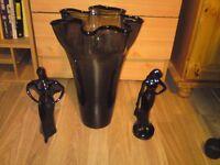 smokey black glass vase,plus 2 black figurines,bargain!!!
