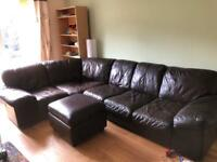 Large Brown leather corner sofa USED with poof included BARELY USED